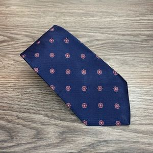 Brooks Brothers Navy w/ Red Flower Check Tie